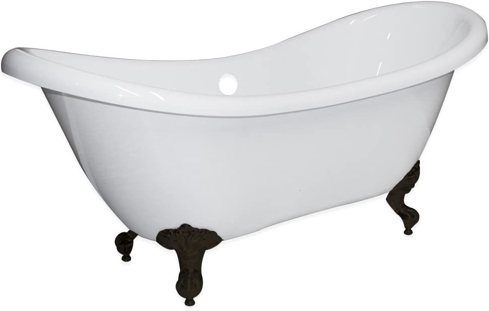 Freestanding 68 Bathtub Acrylic Double Ended Slipper with NO Faucet Holes Oil Rubbed Bronze Feet- Harrison