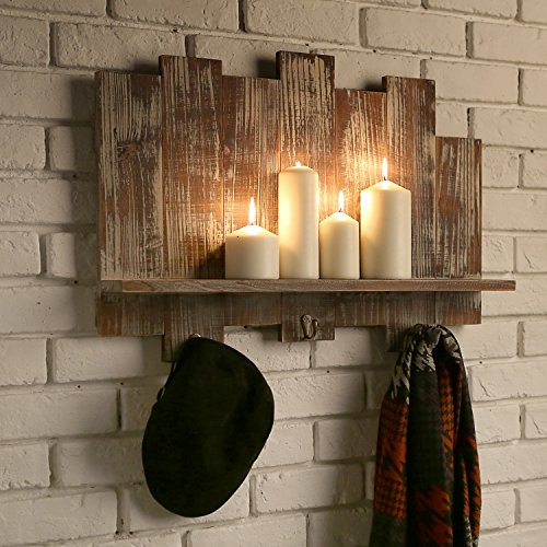 Distressed Barnwood Floating Shelf Rack with Staggered Board Backdrop and 3 Key Hooks, Brown