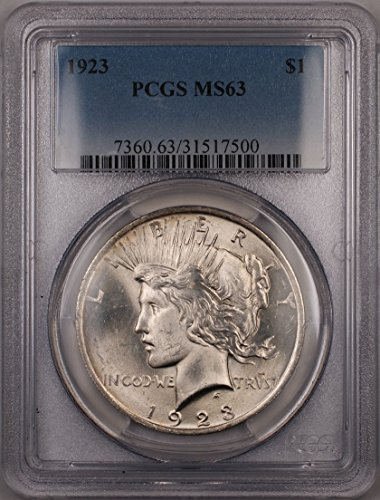 1923 Peace Silver Dollar Coin (2M) $1 MS-63 PCGS