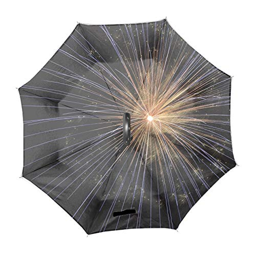 1 Fireworks New Years Eve Bright Light Firework Large Inverted Double Layer Reverse Folding Umbrella - C-Shape Hands-Free Handle for Car Rain Sun