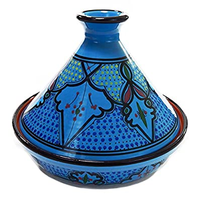 "Le Souk Ceramique Sabrine Cookable Tagine, 12"", Turquoise/Red/Gold/Green"