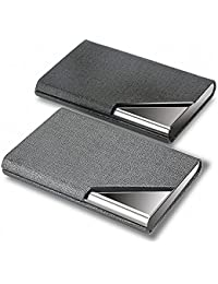 Business Card Holder, 2 Pack PU Leather and Stainless Steel Business Card Case with Magnetic Shut, Business Card Holder Case for Men and Women