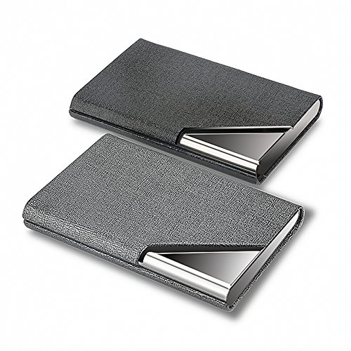 KISSWILL Business Card Holder, 2 Pack PU Leather and Stainless Steel Business Card Case with Magnetic Shut for Men and Women
