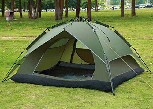 New Waterproof Double Layer Outdoor 2-4 Person Automatic Instant Hiking Camping Family Tent/ Green #203 (Outdoor Ceiling Fans Sydney)