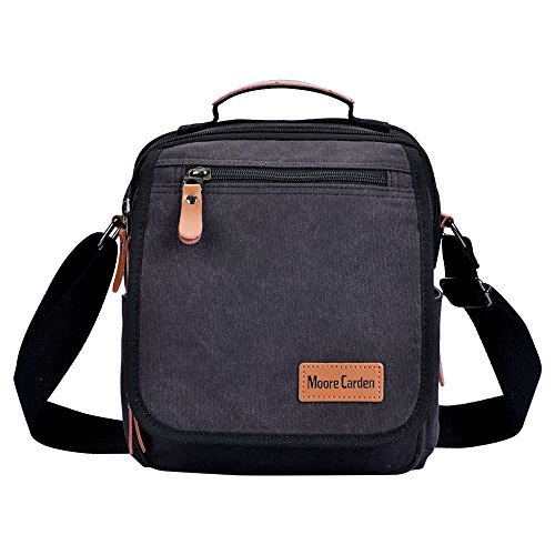 Moore Carden Vintage Multifunction Canvas Shoulder Bag Business Messenger Bag Ipad Bag Tote Bag Satchel Bag (Black)
