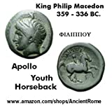 359 BC. Ancient Greek Coin. King PHILIP of Macedon. Nude Athlete on HORSE. Apollo.