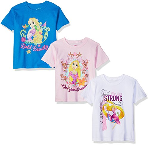 Disney Little Girls' Rapunzel Tangled 3-Pack Short Sleeve Graphic T-Shirt, Turquoise/White/Pink, 5/6