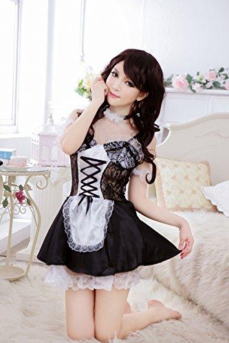Shangrui Mujer Charra Independiente Tipo Pijamas de Cosplay de la Criada Traje W573 Negro