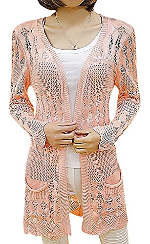 US&R Women's Open Front Solid Colors Fitted Knitted Cardigan Longline, (Crochet Embroidered Sweater)