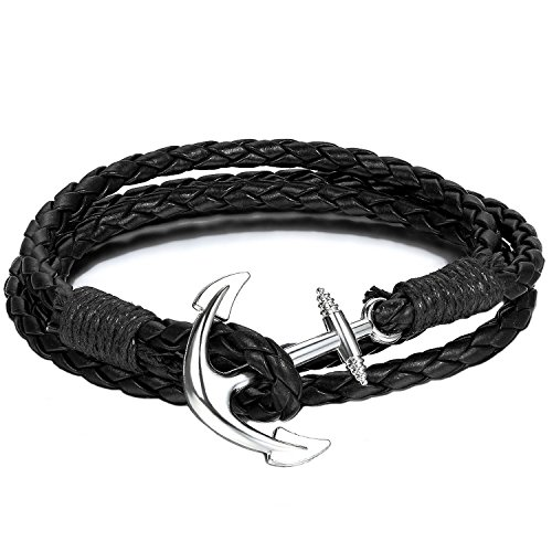 Anchor Bracelet Nautical Black Paracord Silver Anchor - Twining Weave Anchors Rope Bracelet (Retro Sailor Costume)