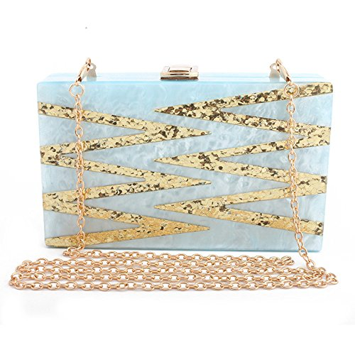Clutch with Cross Strap Long Handbag Party Wedding Small Bags for Blue Wristlet Body Elegant Clubs and Bags HwBnpnd4zq