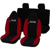 Lupex Shop 108_N.R Stoelhoezen voor Peugeot 108, Zwart/Rood