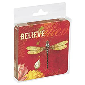 Tree-Free Greetings Set Of 4 Cork-Backed Coasters, 3.75 x 3.75 Inches, Believe Themed Dragonfly Art (52548)