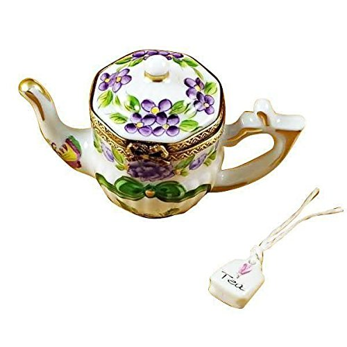 TEAPOT-BUTTERFLY - LIMOGES BOX AUTHENTIC PORCELAIN FIGURINE FROM FRANCE