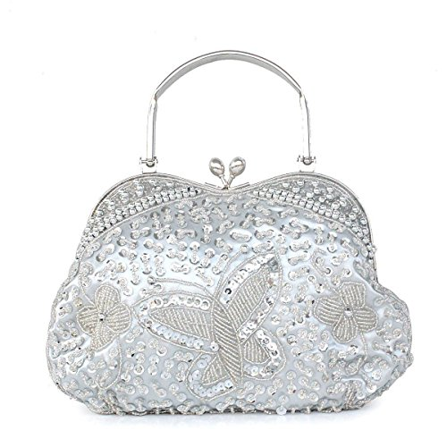 NBAG Estilo Clásico Nacional De Las Mujeres Cheongsam Bag Princesa Holding Bolsa De Noche Portátil Retro Con Cuentas Bolsa De Novia Paquete De Vestido De Dama De Honor,Silver Silver