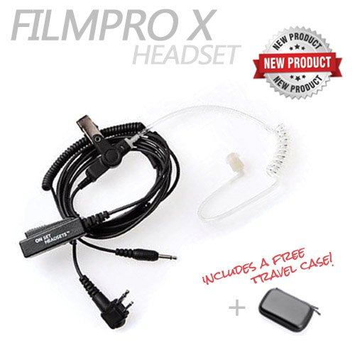On Set Headsets: The FILMPRO X Walkie Talkie Surveillance Headset w/ 3.5mm Aux Cable for Comtek or IFB Monitor (Travel Case: Red) by On Set Headsets