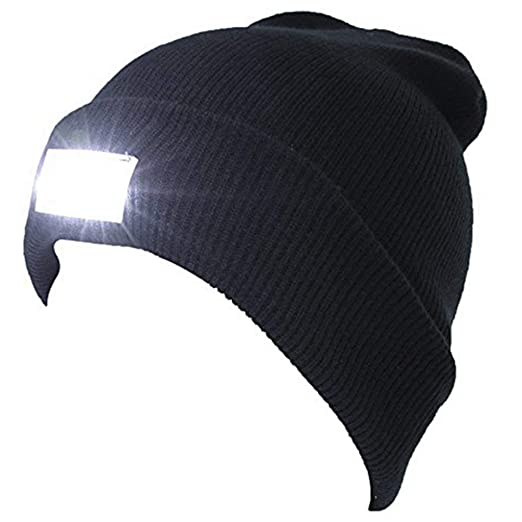 8bf6fa700b0 fantastic me 5 LED Lighted Beanie Cap Winter Warm Hunting Camping Running  Fishing Cycling Hat Black