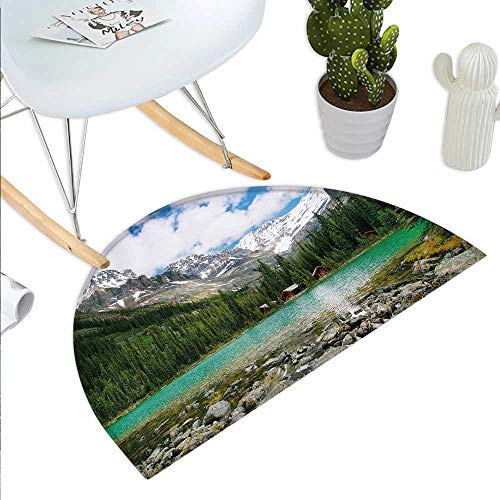 Landscape Half Round Door mat Canada Ohara Lake Yoho National Park with Mountains Nature Scenery Art Photo Half Round Front Door mat Multicolor -