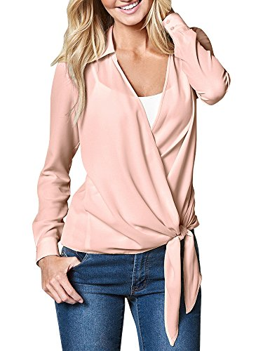 Fashare Womens Casual V Neck Chiffon Blouses Long Sleeve Wrap Front Tie Surplice Shirt Top (Large, Pink) - Lace Long Sleeve Wrap