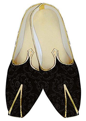 INMONARCH Herren Schwarze Hochzeit Schuhe Silber Design MJ11207