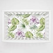 Carousel Designs Purple Painted Tropical Mini Crib Sheet 1-Inch-4-Inch Depth - Organic 100% Cotton Fitted Mini Crib Sheet - Made in The USA