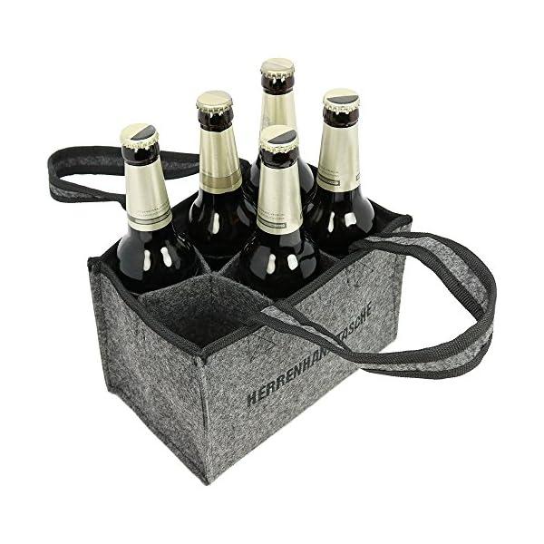 51 com-four® Herrenhandtasche - Filztasche für Getränke - Flaschentasche aus Filz für 6 Flaschen - 6er Träger bis 0,5 L…