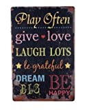 Inspirational Quotes Play Often Metal Sign Tin Signs Retro Shabby Wall Plaque Metal Poster Plate 20x30cm Wall Art Coffee Shop Pub Bar Home Hotel Decor