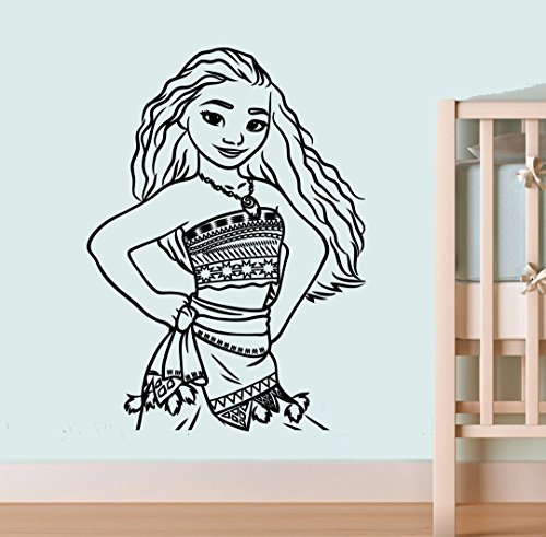 Cartoon Moana Art Young Moana Wall Vinyl Decals Home Interior Decoration Girls Boys Bedroom Stickers Nursery Picture moa5