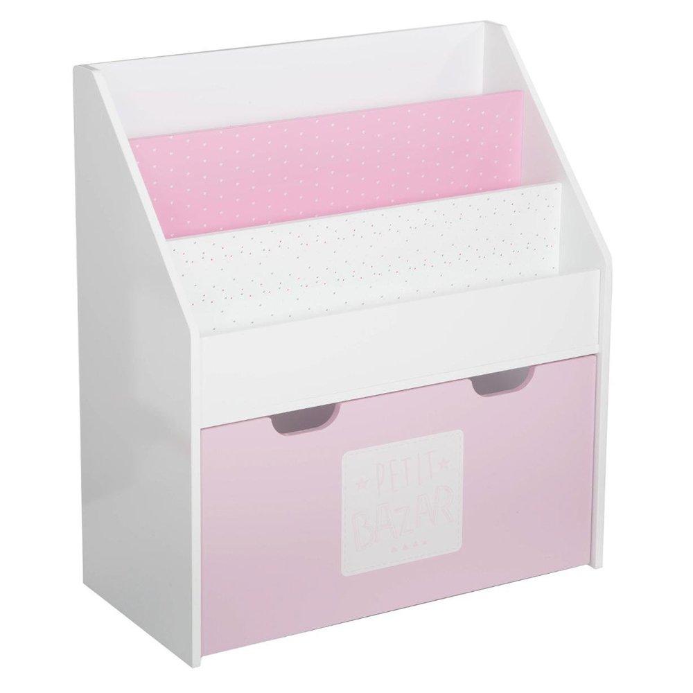 2 in 1: Libreria + scatola in legno per bambini - Colore: ROSA e BIANCO ATMOSPHERA