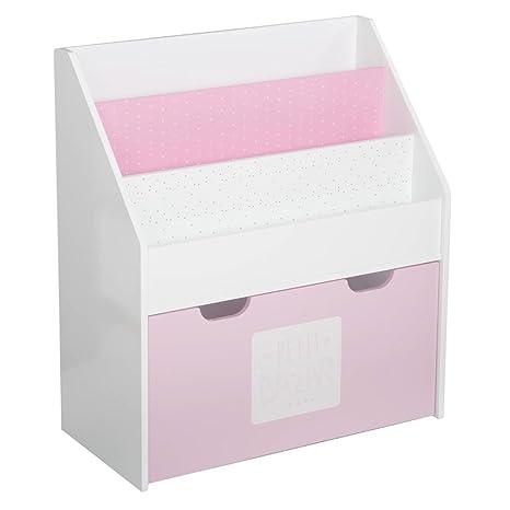 2 en 1: Biblioteca + Cofre de almacenamiento de madera para niños - Color ROSA