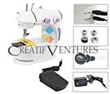Creatif Ventures Mini Desktop Multi Functional Portable 4 in 1 Sewing Machine with Adapter and Automatic Foot Pedal