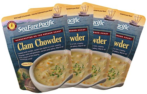 (Clam Chowder - Sea Fare Pacific, 4 pack, gluten free, ready to eat, convenient microwavable/boilable pouch, east coast wild caught sustainable Clams, New England style excellent on-the-go meal.)