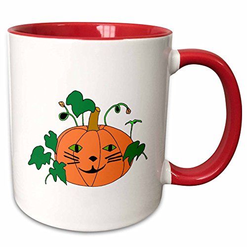 3dRose CherylsArt Holidays Halloween - Digital painting of a cute pumpkin with a cat face for Halloween - 15oz Two-Tone Red Mug (mug_223207_10)]()