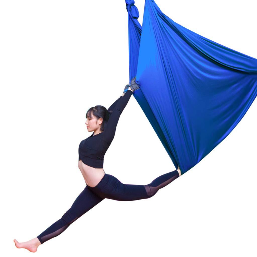 Gurte Aerial Yoga Hängematte Home Indoor Set Air Silk Yoga Set Indoor Sling Yoga Stretching Anti-Schwerkraft Yoga Schwingen Hohe Höhe Yoga Stretch (Farbe : Blau 2, Größe : 5  2.8 m) e29517