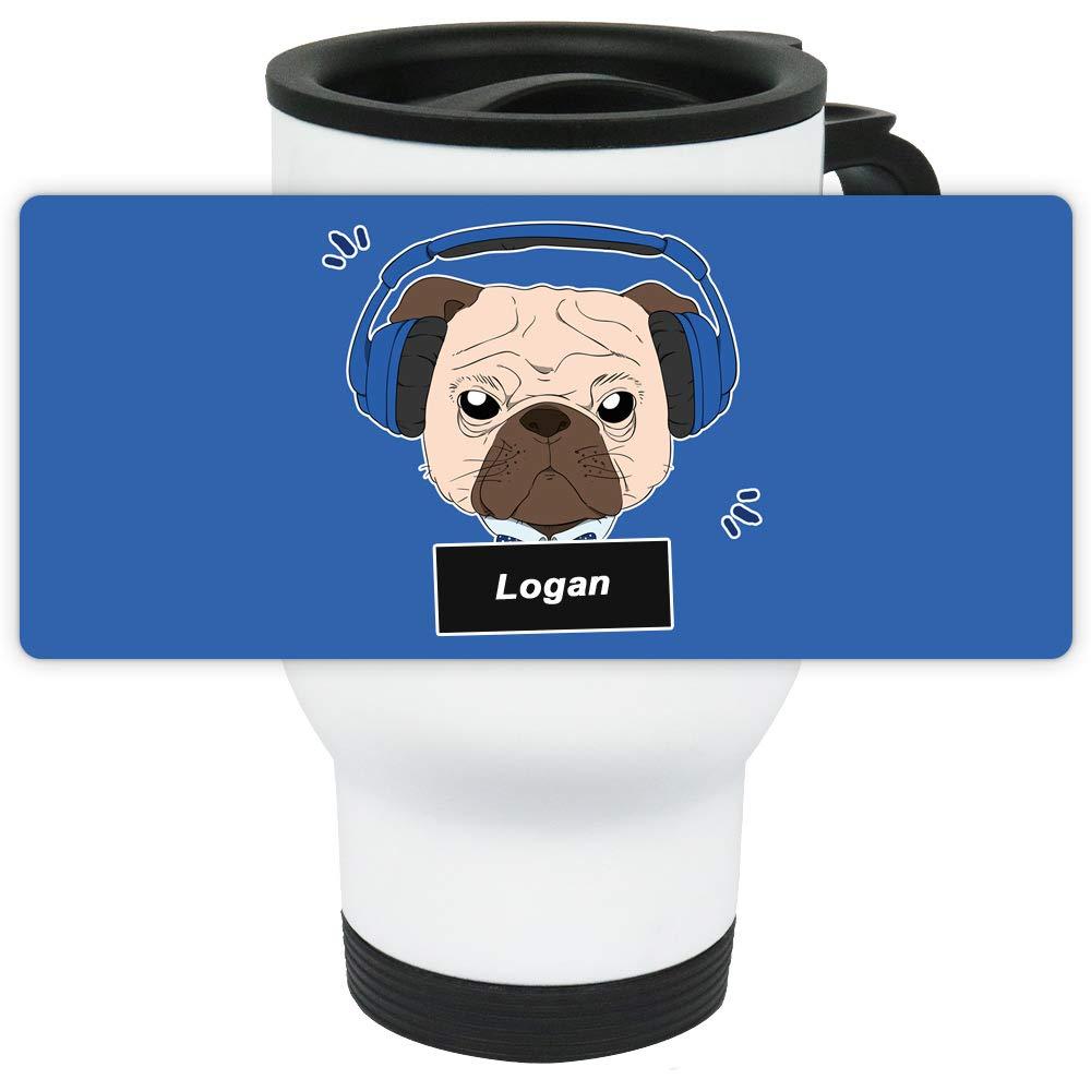 Eurofoto Thermo-Becher mit Namen Logan und Mops-Motiv mit Kopfhörer für Jungen | Thermo-Tasse | Isolier-Becher mit Henkel aus Edelstahl