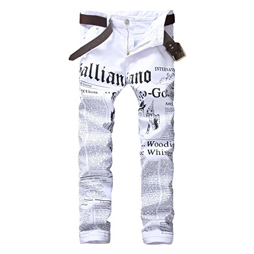 (Longe Mens Zipper Fly Journal Print Jeans (W34, White))