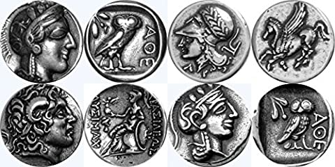 Greek Mythology, Athena/Owl 77S, Athena/Pegasus 43S, Alexander the Great/Athena 34S, Athena/Owl Drachm 47S,Greek Gods & Goddesses Coin Collection, Most Famous Greek Coins, SET 3 of 4 Different - Silver Horse Coin Set