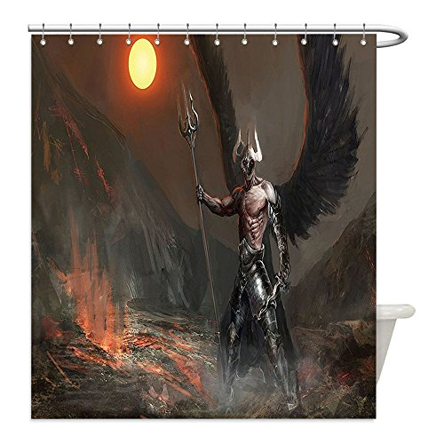 [Liguo88 Custom Waterproof Bathroom Shower Curtain Polyester Fantasy World Decor Collection Knight with Wings Feathers Angel Devil Full Moon Fire Fantasy Night Illustration Brown Yellow Decorative ba] (Make Moon Knight Costume)