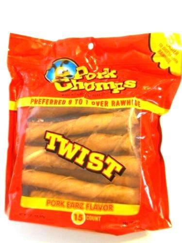 1 Lb Unit (Pet Chomps Twists, Pork Earz Flavor, Made with Pork Skin 15 count, 1 lb bag)