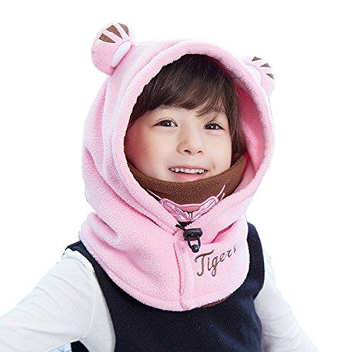 TRIWONDER Balaclava Hat for Kids Face Mask Thermal Fleece Neck Warmer Winter Ski Mask Full Face Cover Cap (Pink - New Version)