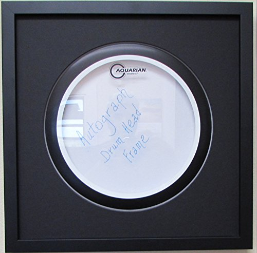 "14"" Drum Head Display Frame Set Black frame Black matting Easy Mount (Black)"