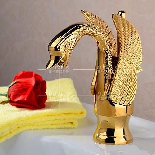 Furesnts Modern home kitchen and bathroom faucet European copper electroplating gold mirror carved Swan Faucets,(Standard G 1/2 universal hose ports) by Furesnts Faucet