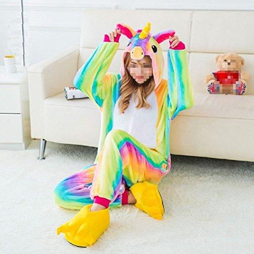 Festival Costume (Unisex Animal Design Sweet 3D Unicorn Pajamas Nightwear Cosplay Costumes Party Festival Unicorn Sleepwear for Adults and Kids (S, Rainbow Unicorn))