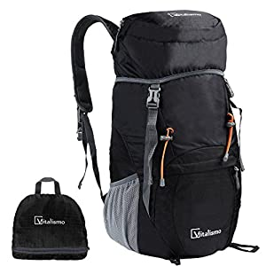Travel Hiking Backpack,Vitalismo Outdoor Large 40L Lightweight Packable Durable Camping Daypack Bag