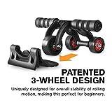 Vim Ab Roller Wheel w/Patented 3-Wheel Triangular Design - Perfect Fitness Exercise Equipment for Home and Best Exercise Equipment for Abs