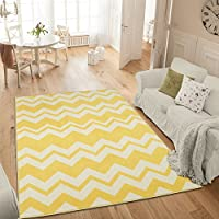 Ottomanson Studio Collection Chevron Waves Design Area Rug, 50 X 60, Yellow