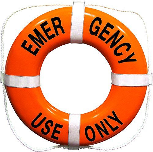 Emergency Use Only Printed on 24 Inch Orange Ring Buoy by Aquatic Technology, Inc