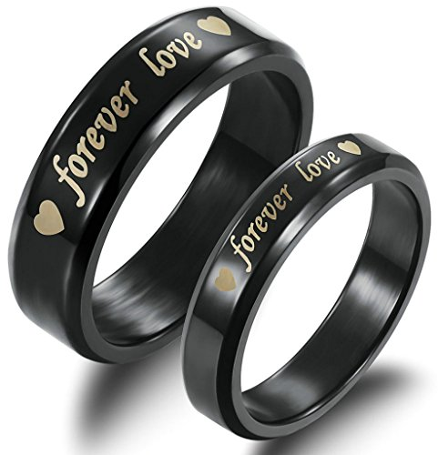 ANAZOZ Stainless Steel Black Wedding Band Forever Love Engraved Couple Promise Rings