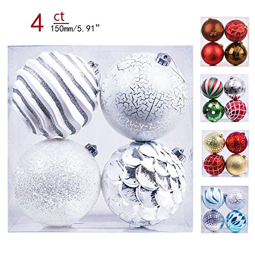 Valery Madelyn 4ct 150mm Frozen Winter Silver White Shatterproof Christmas Ball Ornaments Decoration,Themed with Tree Skirt(Not Included)