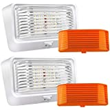 BlueFire Super Bright LED RV Porch Light RV Exterior Lights Porch Utility Light 12V Replacment Light with ON/Off Switch, Clear and Amber Removable Lens for RV, Trailer, Camper (2 Pack)